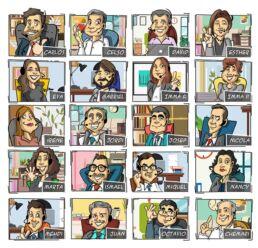 caricatura de grupo por videollamada