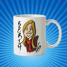 taza berta con caricatura