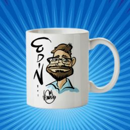 taza edin con caricatura