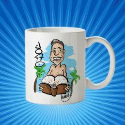 taza maestro joao con caricatura