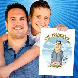 Padre e hijo con caricatura