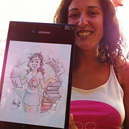 Caricaturista en papel tradicional