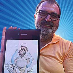 Caricaturista tradicional en papel