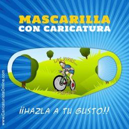 mascarilla con caricatura bicicleta