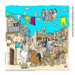 caricatura de grupo de una foto