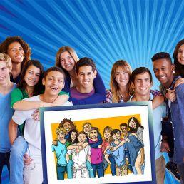 Caricatura de grupo desde una foto