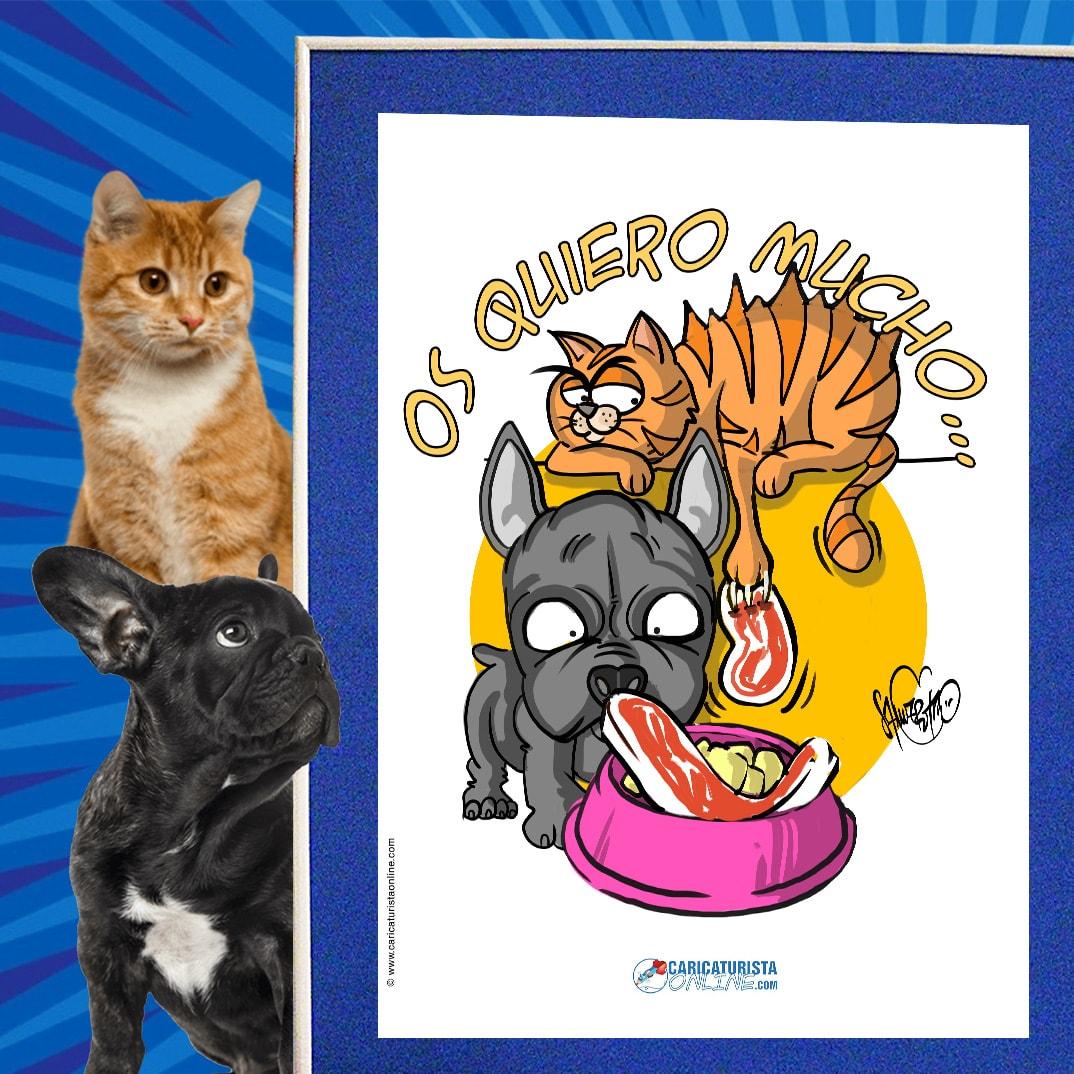 caricatura de mascota gato y perro