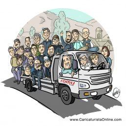 Caricatura de grupo de empleados
