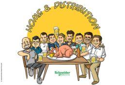 Caricatura de grupo de amigos cenando