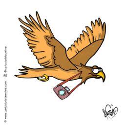 caricatura de mascota alcon