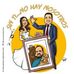 caricatura de mascota boda novio