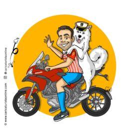 caricatura de mascota en moto