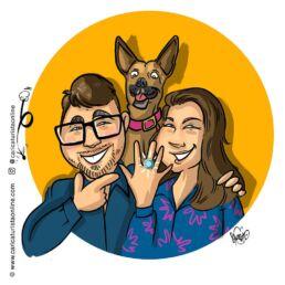 caricatura pedida de matrimonio con perro