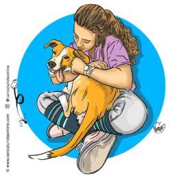 retrato con perro mascota